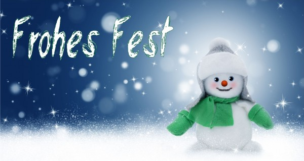 Frohes Fest mit Schneemann grün