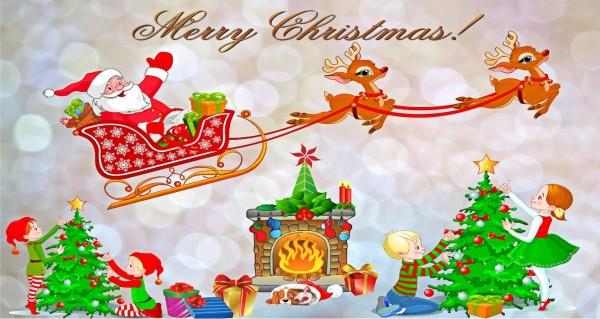Kinder feier Weihnachten