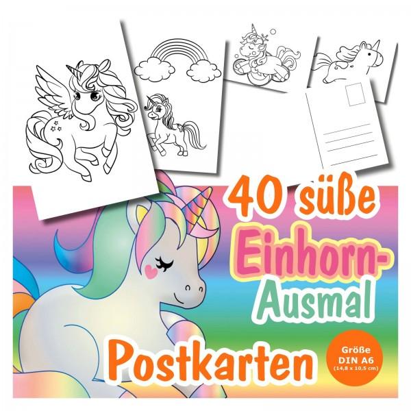 Einhorn Postkarten Ausmalen Maedchen Kinder