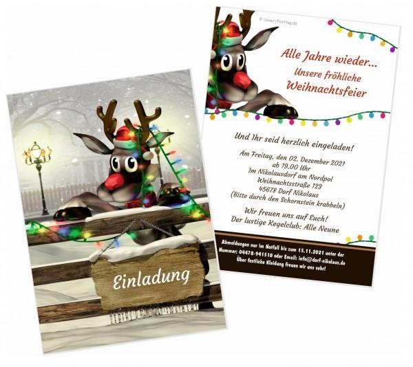 Einladung Weihnachtsfeier Lustiger Text.Rudolf Lädt Ein