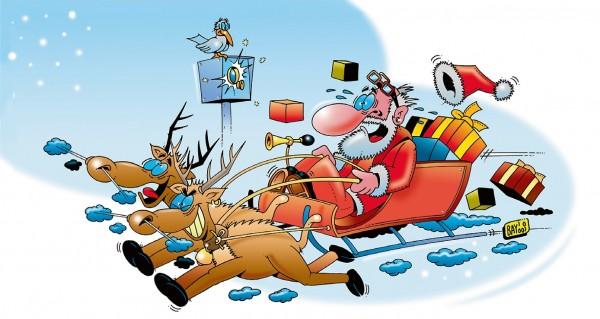 Comic Weihnachtsmann mit Blitzer