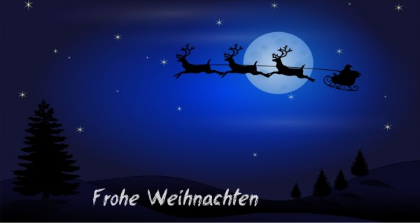 Weihnachtsschlitten im Mondschein
