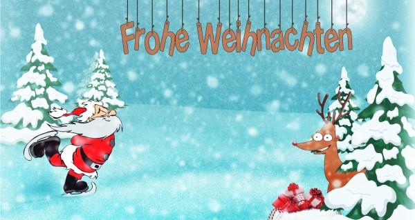 Weihnachtsmann fährt Schlittschuhe