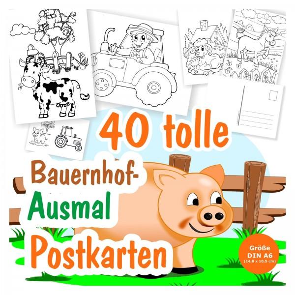 Ausmal Postkarten Tiere Bauernhof Jungen