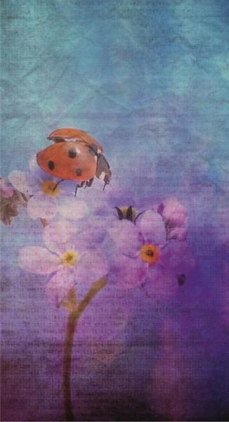 Retro Glückskarte Marienkäfer