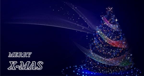Merry X-MAS blauer Weihnachtsbaum