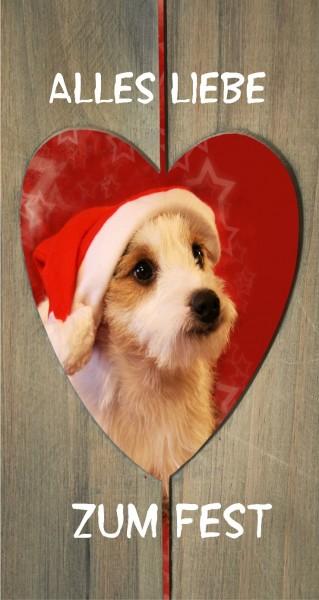 Hund im Herz wünscht frohes Fest