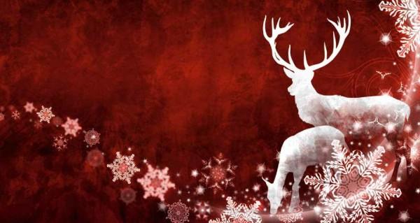 Weihnachtshirsch auf rotem Hintergrund