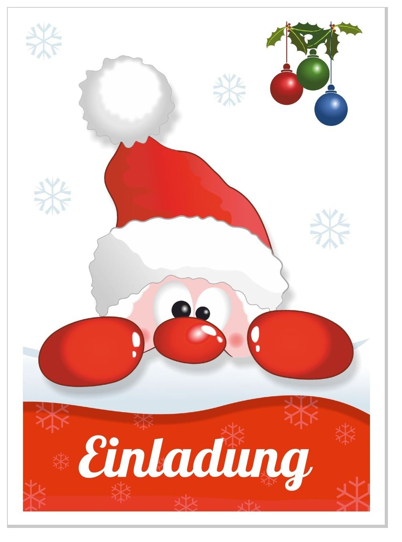 Einladung Weihnachtsfeier Verein.Einladungskarte Lustiger Nikolaus