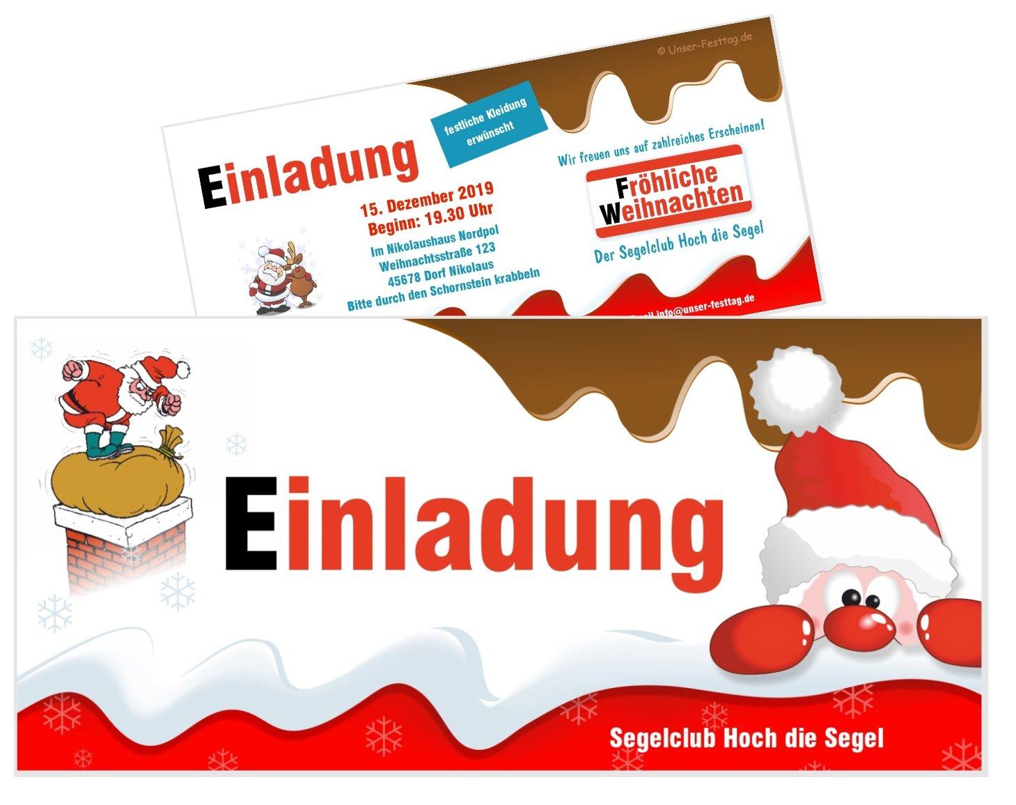 Einladung Weihnachtsfeier Firma.Einladungskarte Schoko Mit Nikolaus
