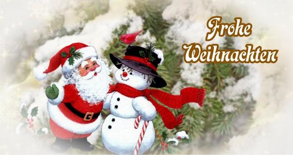 Frohe Weihnachten mit Schneefrau