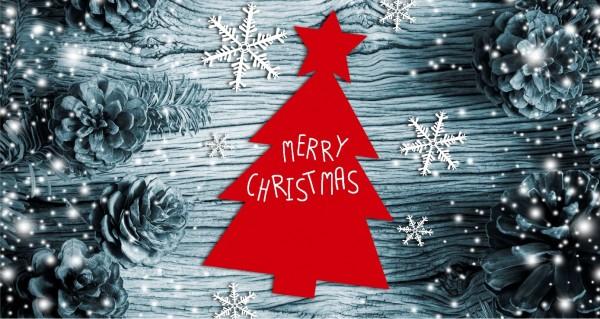 Merry Christmas auf blauem Hintergrund
