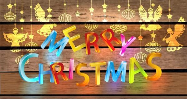 farbenfrohe Weihnachtskarte
