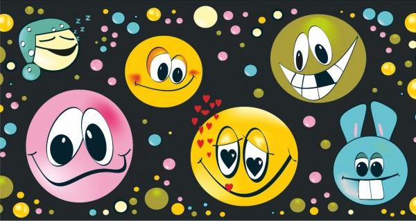 Smileys auf dunklen Grund