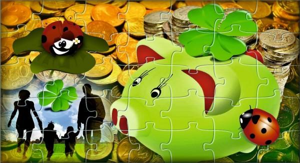 grünes Glückschwein mit Münzen