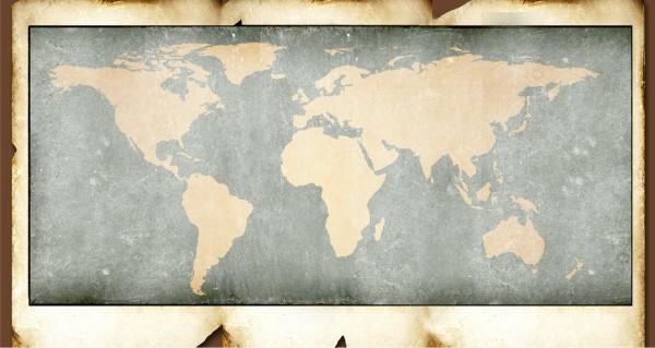 Retro Weltkarte braun