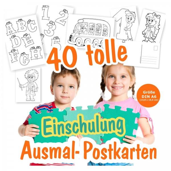 Einschulung Postkarten Ausmalen Kinder
