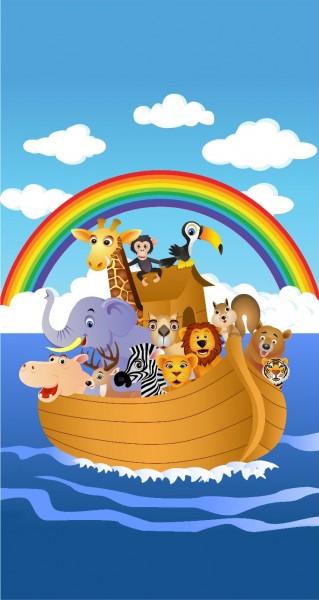 Tiere im Boot mit Regenbogen