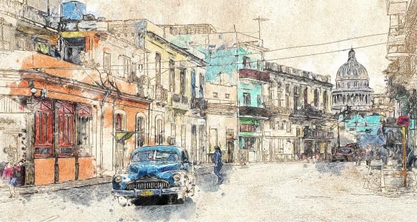 Cuba Oldtimer Zeichnung