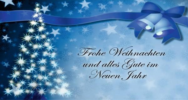 blaue Festtagskarte mit Grußtext
