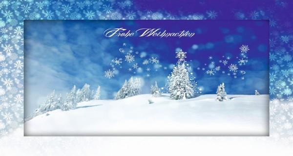 blaue Weihnachtskarte mit Spruch