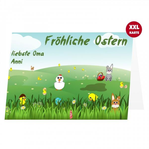 Osterkarte Grusskarte Bunte Osterlandschaft Kinder