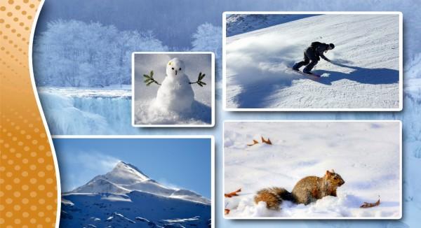 Wintercollage mit Schneemann
