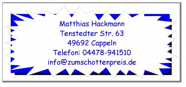 Adressaufkleber Blauer Zickzack Rahmen