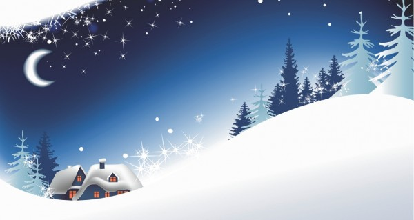 blaue Winterlandschaft mit Textfeld