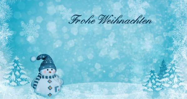Schneemann Frohe Weihnachten blau