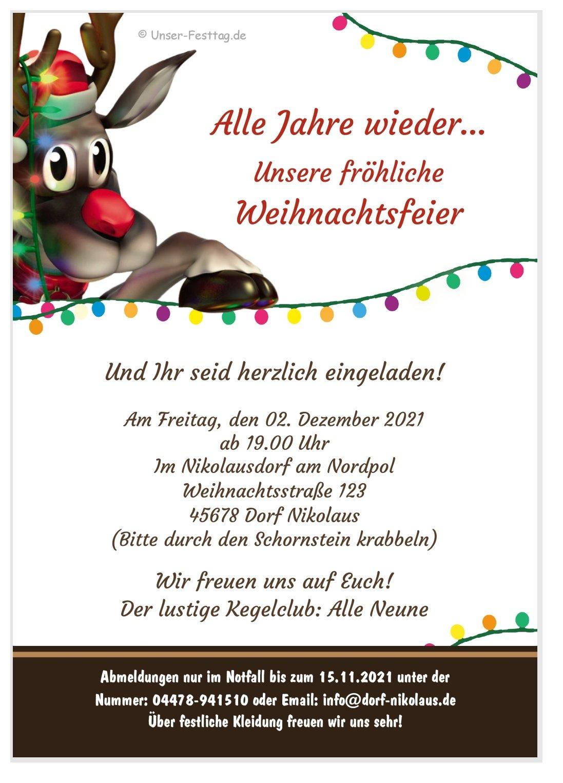 Weihnachtsfeier Einladung Text Lustig.Rudolf Lädt Ein