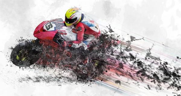 Motorradfahrer Zeichnung