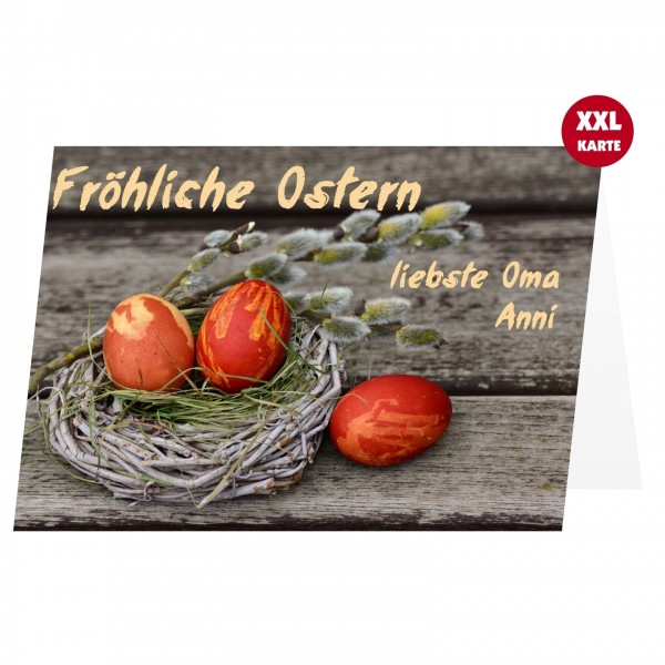 Ostereier Auf Holz Osterkarte Eigener Text