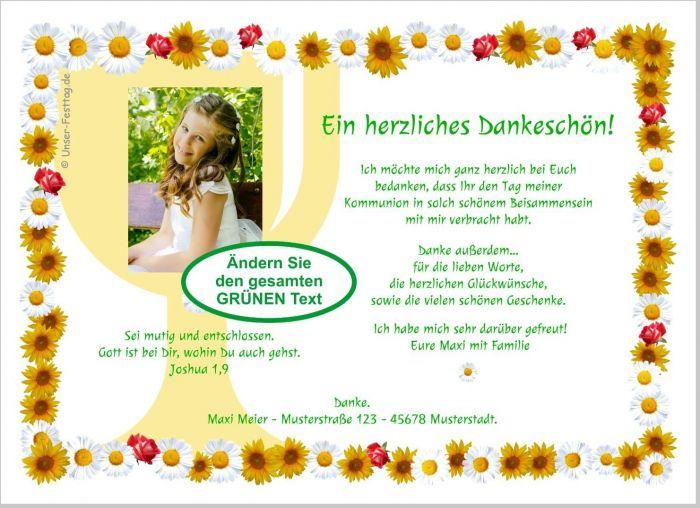 Details Zu Dankeskarten Heilige Kommunion Danke Für Mädchen Mit Oder Ohne Foto Wunschtext