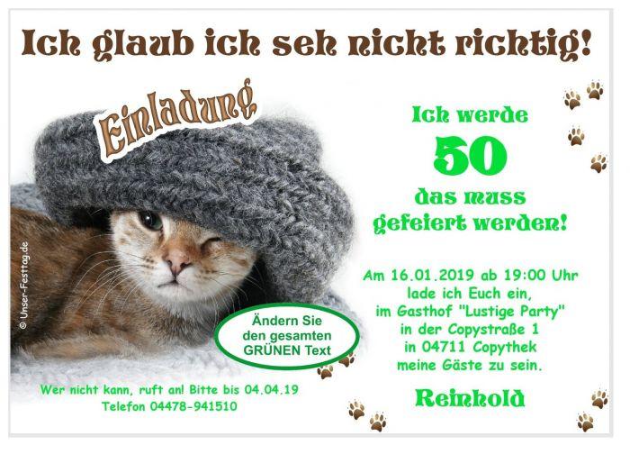 Einladungen Katze Geburtstag Lustig Witzig Jedes Alter Moglich