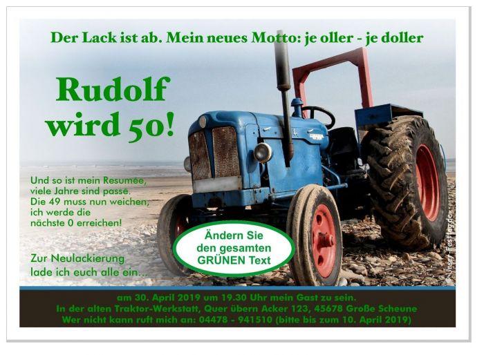 geburtstagseinladung traktor trecker lustig originell