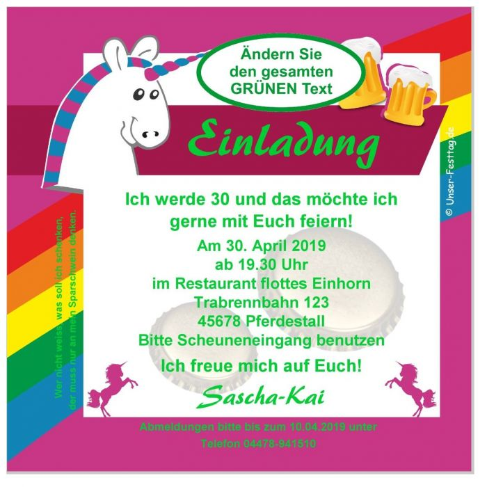 Einladungskarte Geburtstag Einhorn Erwachsene Lustig 18 20 25 30
