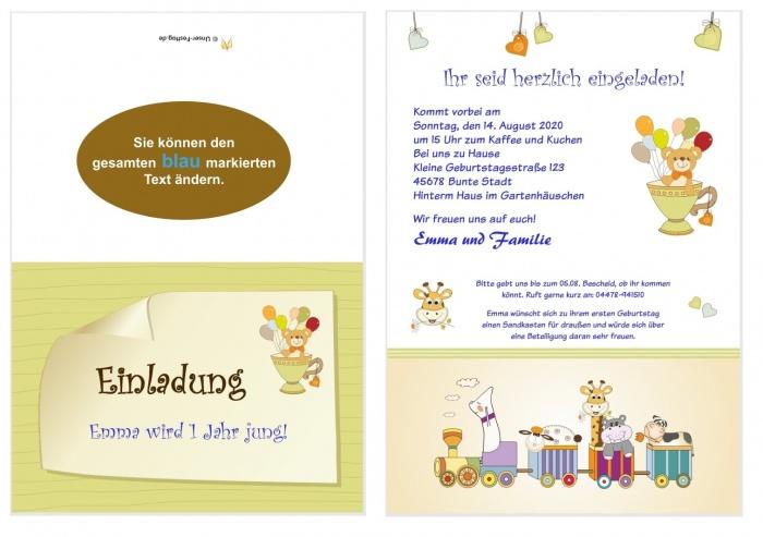 8 Geburtstagseinladungen Kinder lustige Tiere Einladungskarten bunt süß Baby Set