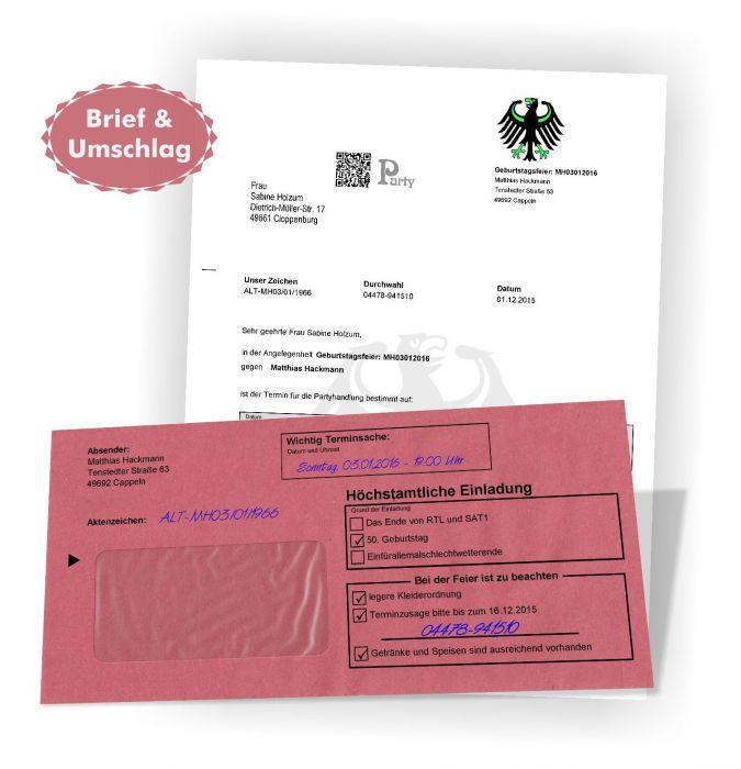 Einladungskarten Zustellung Amtlich Brief Umschlag Wunschtext