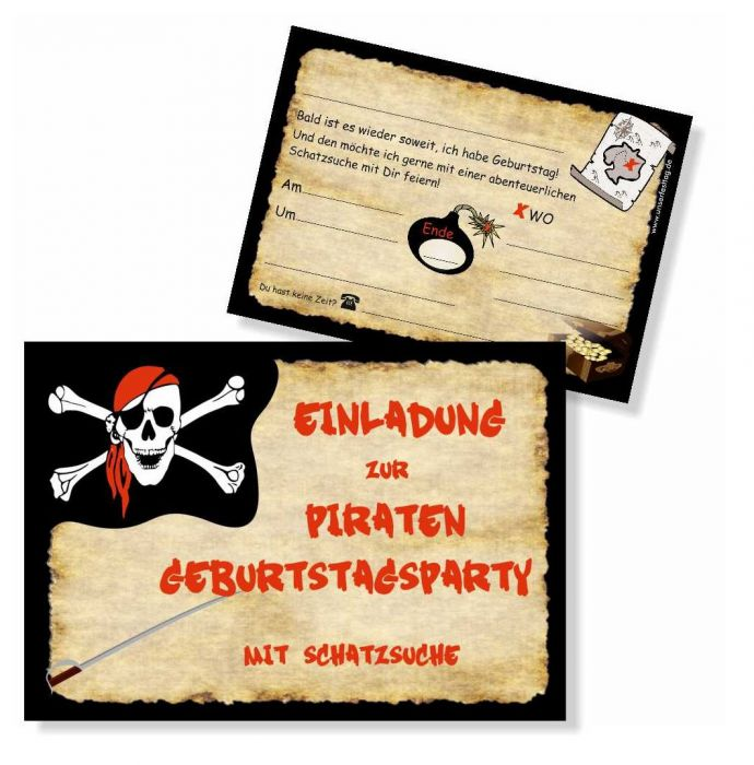 8 Einladungskarten Set Piraten Geburtstagsparty Kinder Junge