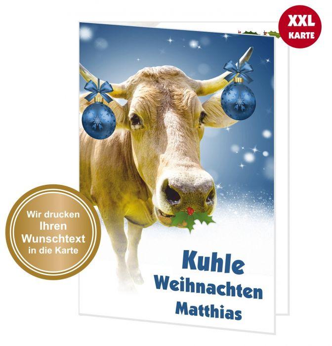große XXL Weihnachtskarte Grußkarte Weihnachten Kuh - Ihr Wunschtext ...